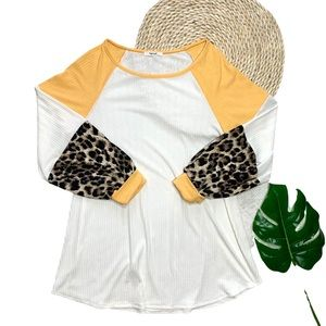 High Call Boutique Leopard Casual Colorblock Top